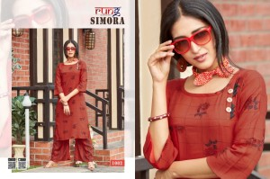 Rung Simora Kurti Plazzo - 8 Pieces Set