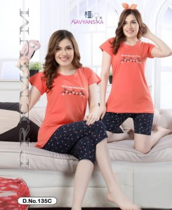 Kavyansika 3 In One Vol 135 Capri Night Suits - 6 Pieces Set